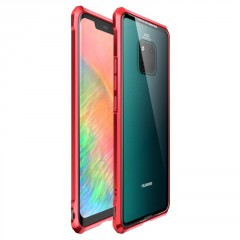 Luphie Luphie King of Snaps Magnetic Aluminium Bumper Case Glass Red pro Huawei Mate 20 Pro
