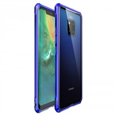 Luphie Luphie King of Snaps Magnetic Aluminium Bumper Case Glass Blue pro Huawei Mate 20 Pro