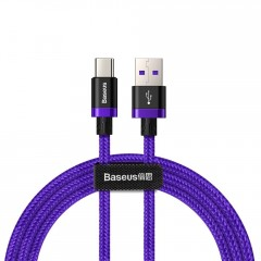 Baseus Purple Gold Red kabel v nylonovém opletení USB / USB-C SuperCharge 40W Quick Charge 3.0 QC 3.0 1M fialový (CATZH-A05)