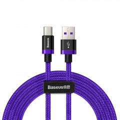Baseus Purple Gold Red kabel v nylonovém opletení USB / USB-C SuperCharge 40W Quick Charge 3.0 QC 3.0 2M fialový (CATZH-B05)