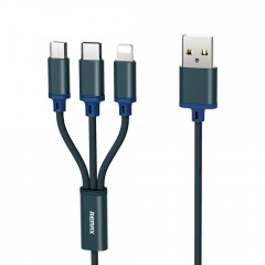 Remax Gition RC-131th nylonový kabel 3v1 USB - micro USB / Lightning / USB-C 2.8A 1,15M modrý
